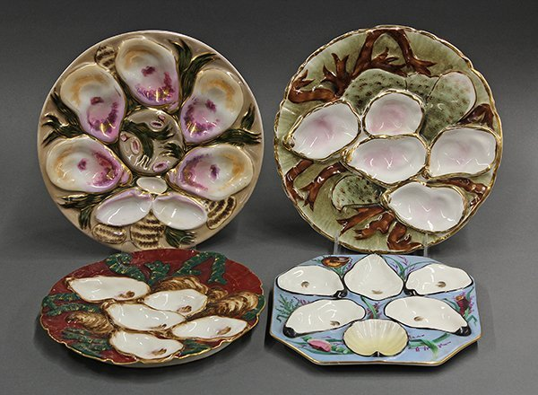 European porcelain oyster plates with five wells, 19th