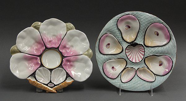 French porcelain five well oyster plates, 19th century