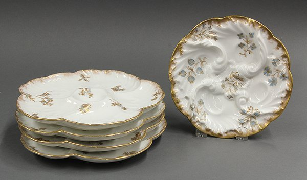 French Victorian oyster plates, 19th century