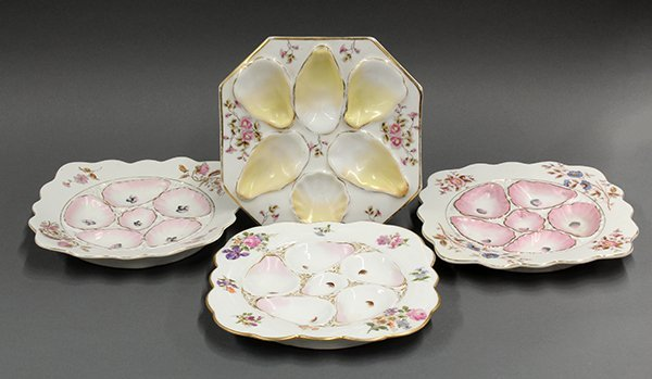 Porcelain oyster plates, 19th century