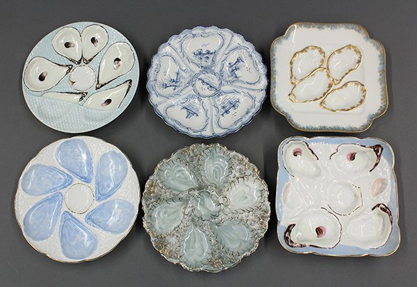 English and Continental  porcelain oyster plates, late
