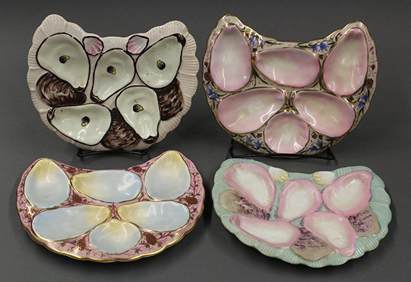 Continental half moon oyster plates, 19th century