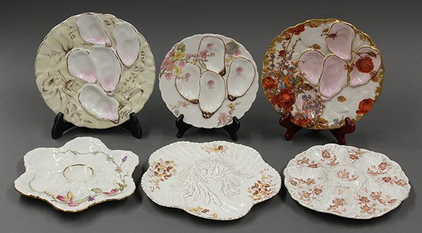 French and Italian oyster plates, late 19th and early 2