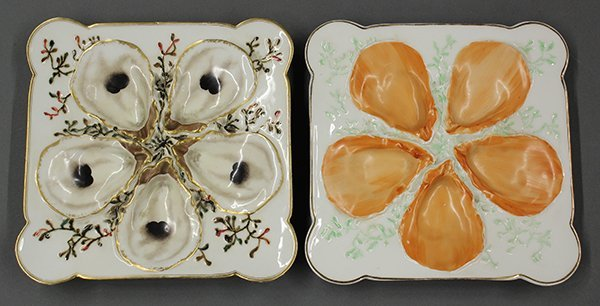 French square oyster plates, 19th century