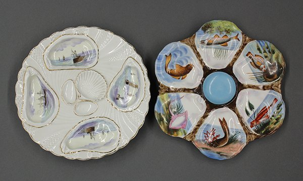 Continental hand painted oyster plates, 19th century
