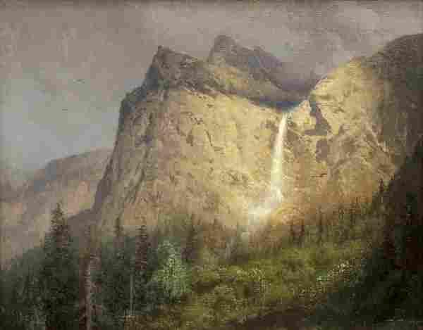 Painting, Hermann Herzog, Bridal Veil Falls, Yosemite