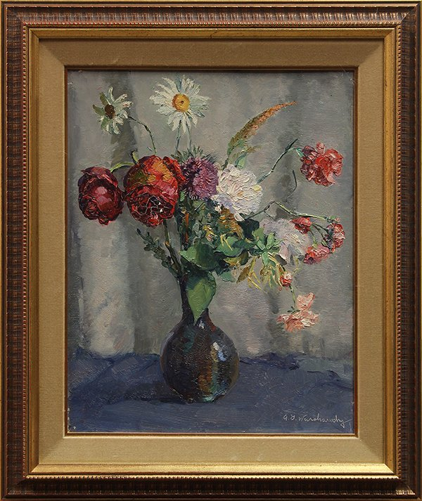 Painting, Abel George Warshawsky, Still Life with Flowe