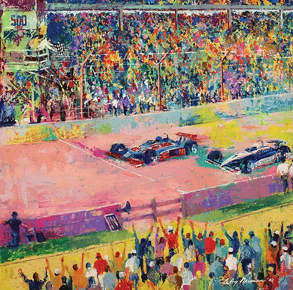 Painting, LeRoy Neiman, Finish at Indy, 1982