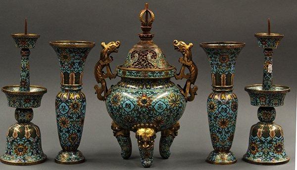 Chinese Cloisonne Garniture Set/Ritual Vessels, 19 c