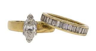 Yellow gold platinum diamond marquise wedding band ring