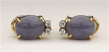 Yellow gold lavender jadeite jade earrings with Mason K