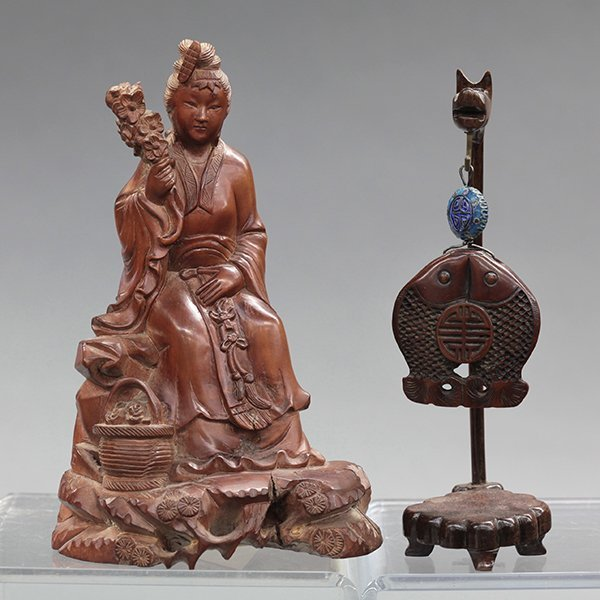 Chinese Wood Figure and Toggle