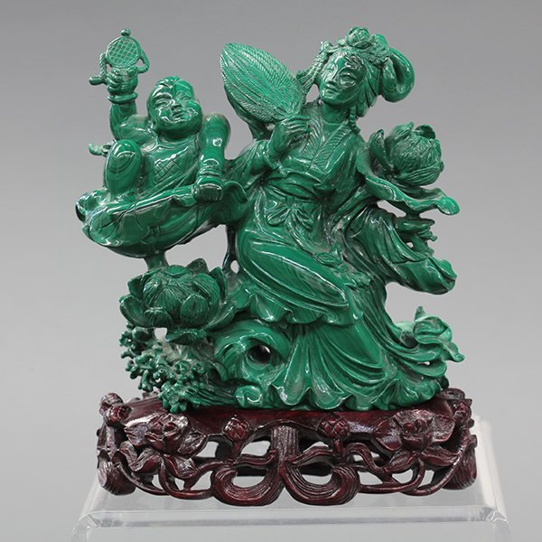 Chinese Malachite Figural Carving