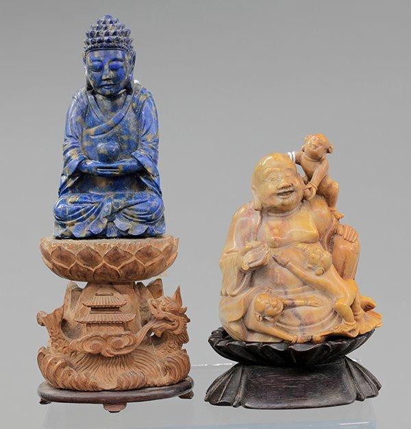 Chinese Soapstone and Lapis Lazuli Carving