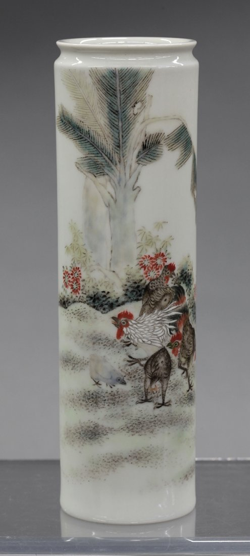 Chinese Cylindrical Porcelain Vessel