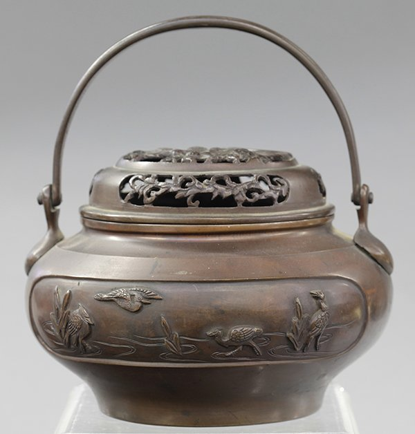 Japanese Patinated Bronze Hand Warmer