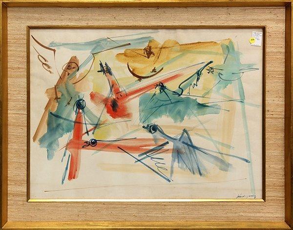 Watercolor, John Chin Young, Bird Composition,