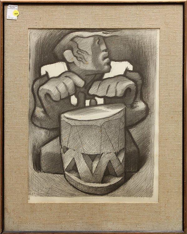 Print, Jean Charlot, Hawaiian Drummer