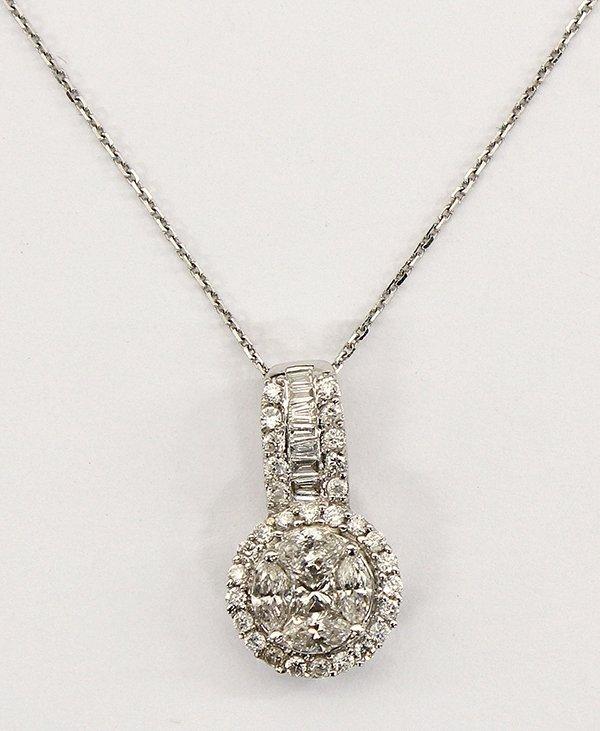 White gold diamond pendant with neckchain