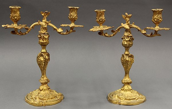 Pair of Louis XV style Continental gilt bronze
