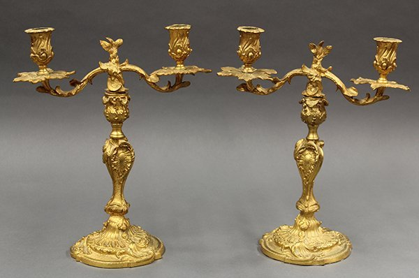 Pair of Louis XV style Continental gilt bronze - 2