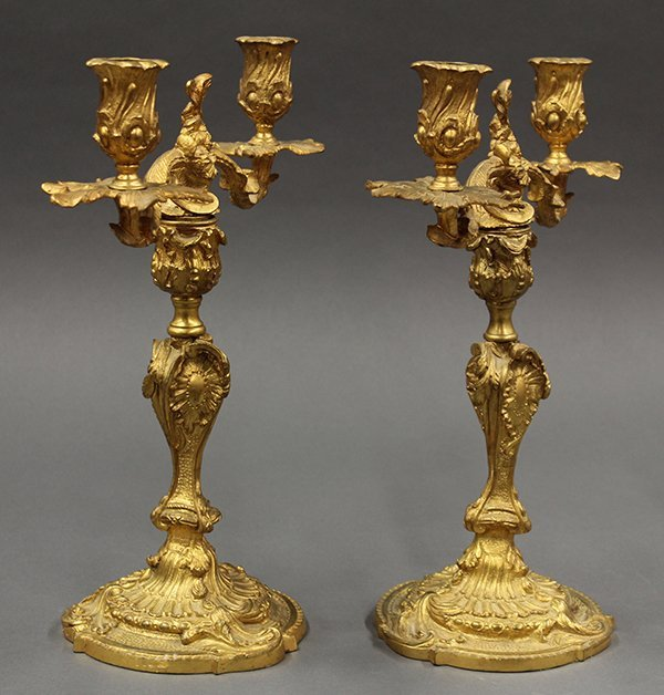 Pair of Louis XV style Continental gilt bronze - 3