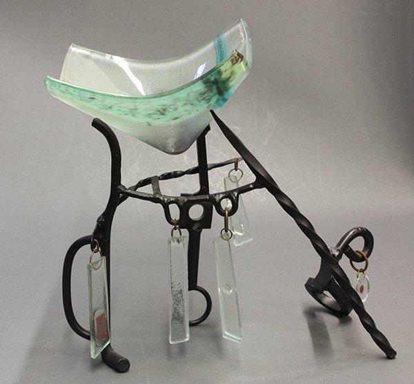Peter Mangan patinated metal and glass sculpture