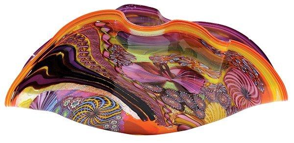 James Nowak large clam shell art glass sculpture.