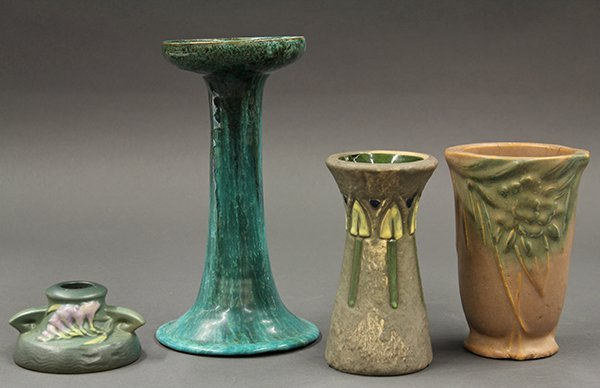 Roseville art pottery vases in the Arts and Crafts