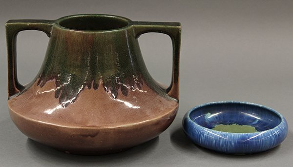 Art pottery vase and bowl