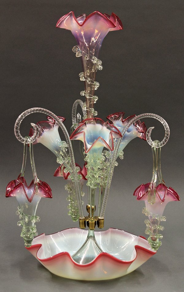 Victorian art glass epergne