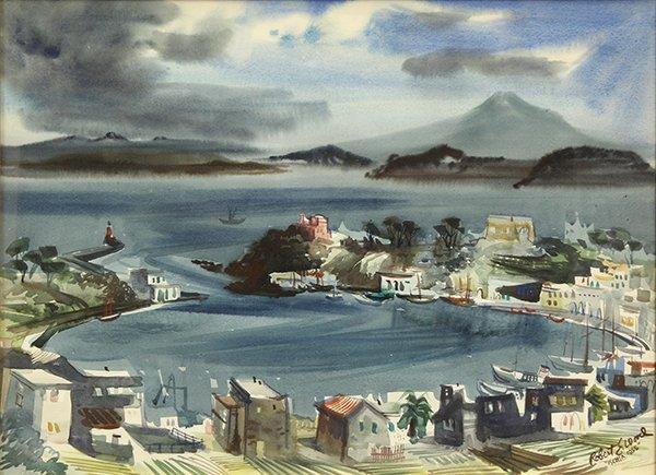"""Watercolor, Robert Earle Wood, """"Ischia,'' 1955"""