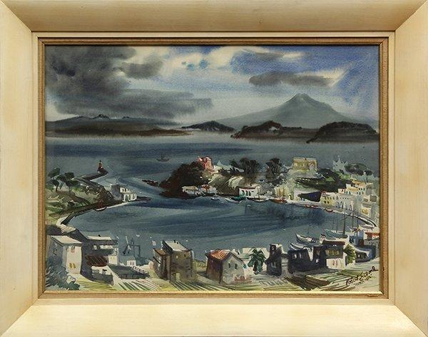 """Watercolor, Robert Earle Wood, """"Ischia,'' 1955 - 2"""