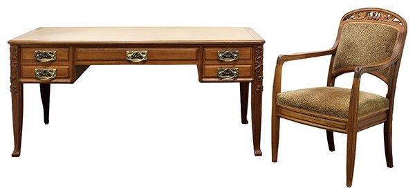 French Art Nouveau carved bureau plat and armchair