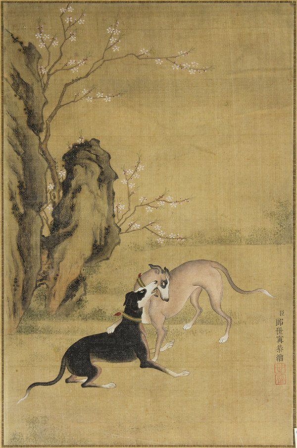 Chinese Paintings, After Castiglione, Dogs