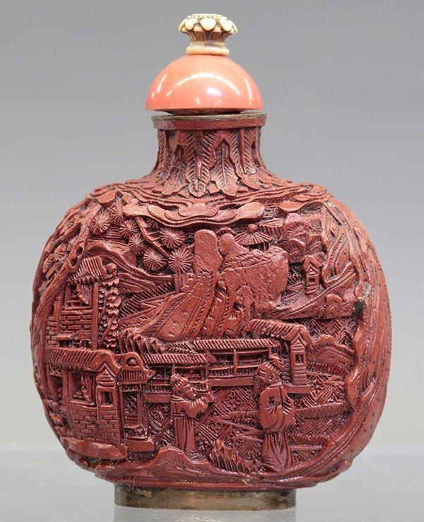 Chinese Cinnabar Snuff Bottle