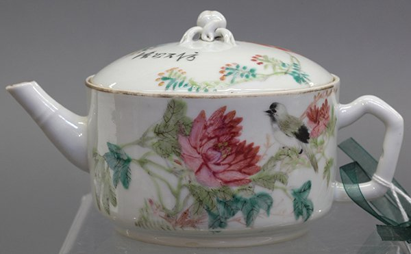 Chinese Porcelain Tea Pot, Birds