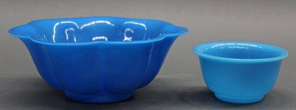 Chinese Blue Peking Glass Bowls