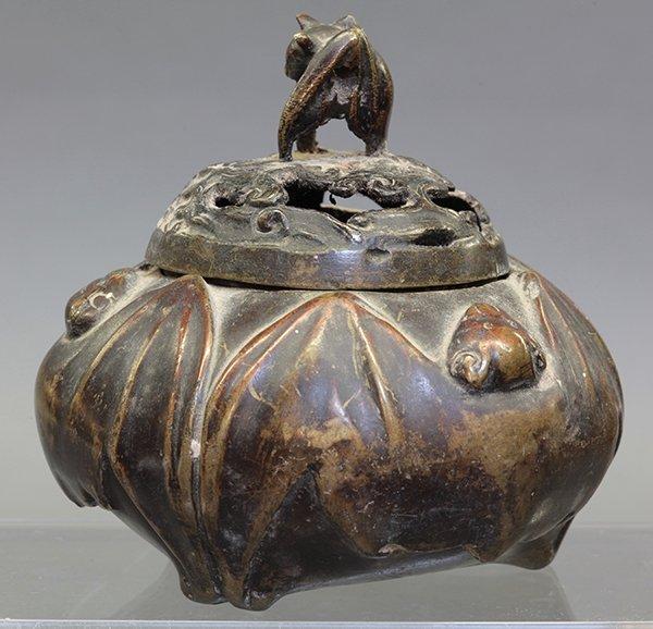 Chinese Bat Form Bronze Censer