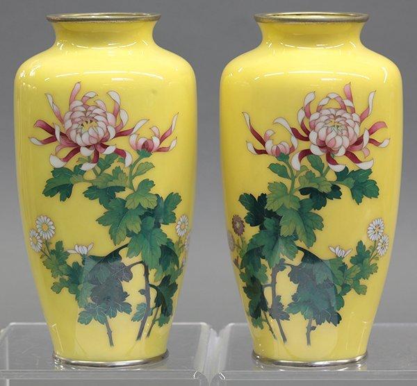 Japanese Enameled Yellow Vases
