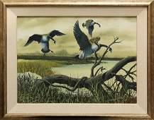 Watercolor, Geese in Flight