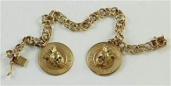 """Yellow gold personalized charm bracelet """"My Little"""