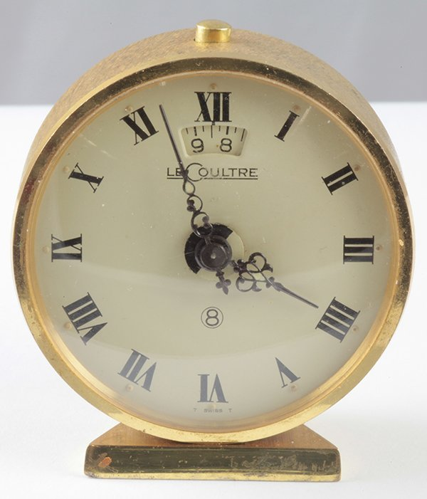 Vintage Le Coultre brass eight day alarm clock