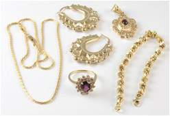 Lot of 5 Collection of garnet yellow gold jewelry