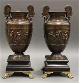 Pair of fine bronze urns in the Neoclassical taste