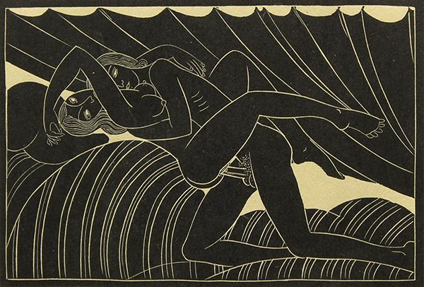 Print, Eric Gill, Lovers in Tent