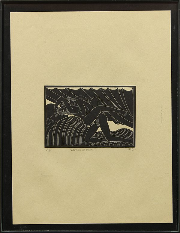 Print, Eric Gill, Lovers in Tent - 2