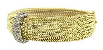Vintage diamond and 18k yellow gold mesh bangle