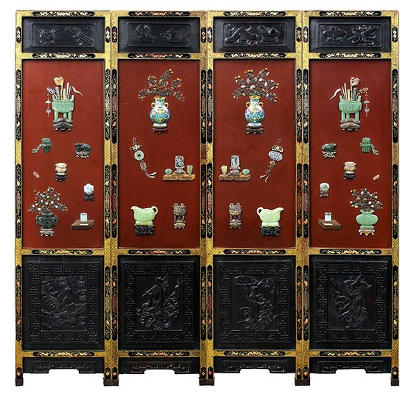 Chinese Inlaid Lacquer Screen