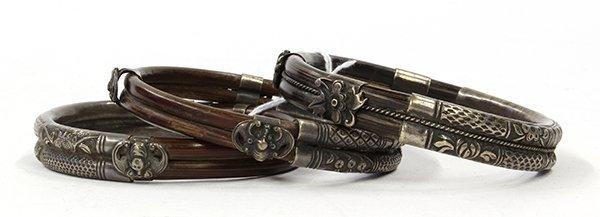 Asian Silvered Bamboo Bracelets